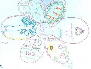 Dessin d'une fleur de la paix créée par les participants